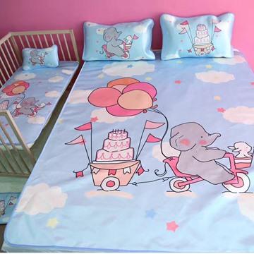 Summer Cool Cute Elephant Ice Silk 3-Pieces Blue Bedding Mat