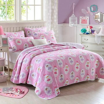 Dancing Girl Printed Cotton Princess Style Queen Size 3-Piece Pink Bed in a Bag