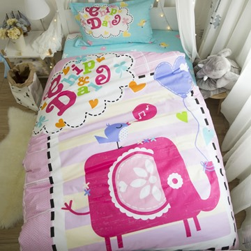 Cartoon Elephant Printed Cotton 3-Piece Duvet Covers/Bedding Sets