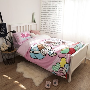 Cartoon Lovers Printed Cotton 3-Piece Duvet Covers/Bedding Sets