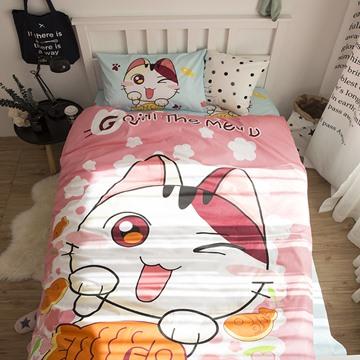 Cartoon Cat Printed Cotton 3-Piece Pink Duvet Covers/Bedding Sets