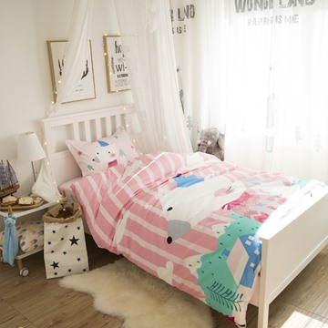 Little Mouse Printed Cotton 3-Piece Pink Duvet Covers/Bedding Sets