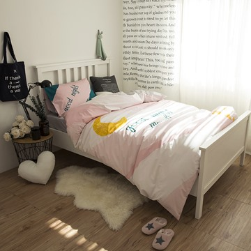Waning Moon Printed Cotton 3-Piece Pink Duvet Covers/Bedding Sets