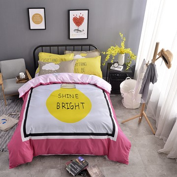 Letters Printed Cotton Purple and Gray Kids Duvet Covers/Bedding Sets