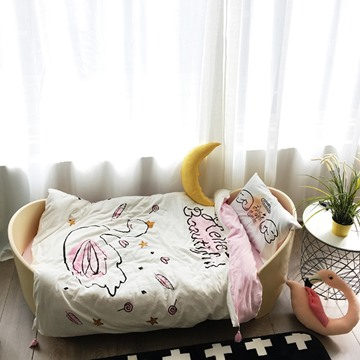 Twin Size White Swan Printed Cotton 3-Piece Kids Duvet Covers/Bedding Sets