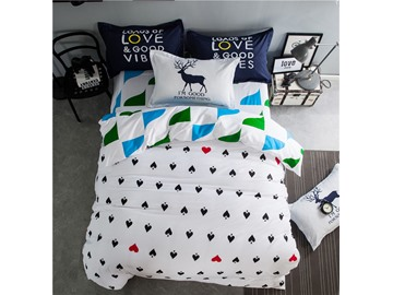 Black Small Peach Heart Printed White Cotton 4-Piece Bedding Sets/Duvet Cover