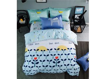 Vibrant Burgeen Printed Cotton Light Blue 4-Piece Bedding Sets/Duvet Cover