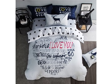 Heart Pattern Made by a Combination of Letters Cotton 4-Piece Bedding Sets/Duvet Cover