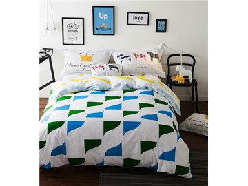Blue and Green Triangles Printed Cotton 4-Piece Bedding Sets/Duvet Cover