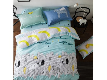 Simple Birds Printed Cotton Light Blue 4-Piece Bedding Sets/Duvet Cover