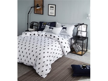 Lightning Bolt Printed Cotton 4-Piece Bedding Sets/Duvet Cover