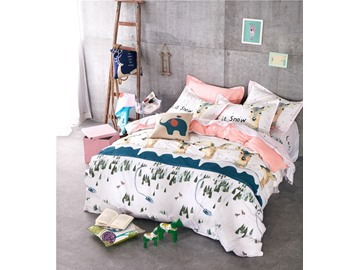 Deerlet with Snow Printed Cotton 4-Piece Bedding Sets/Duvet Cover