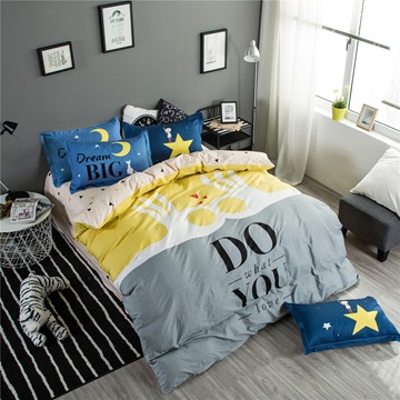 Hands with Letters Printed Cotton 4-Piece Bedding Sets/Duvet Cover