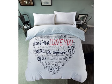Big Heart with Letter Printed Cotton 4-Piece Bedding Sets/Duvet Cover