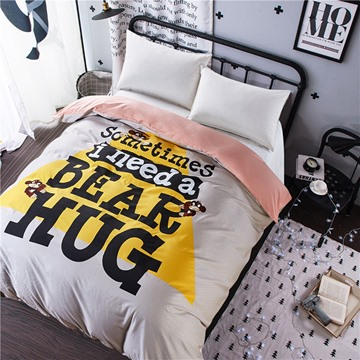 Big Triangle with Letters Printed Cotton Light Grey 4-Piece Bedding Sets/Duvet Cover