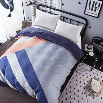 Random Stripes Printed Cotton Dark Blue 4-Piece Bedding Sets/Duvet Cover