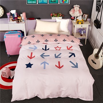 Small Arrows Printed Cotton Pink 4-Piece Bedding Sets/Duvet Cover