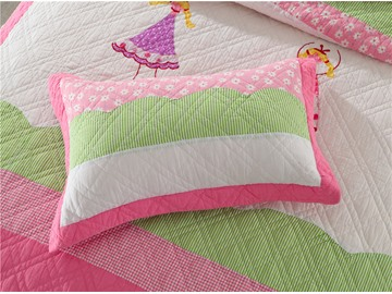 Girl Patchwork Pattern Pink 2 Pieces Cotton Duvet Cover Sets