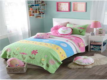Green and Pink Floral Patchwork Pattern 2 Pieces Green Cotton Duvet Cover Sets