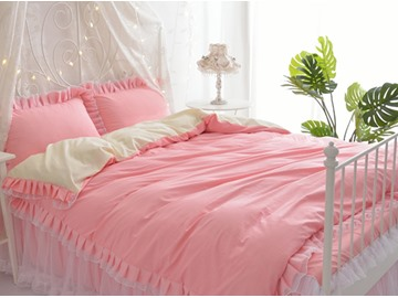 Two Pink For Choice Princess Style Girl 4-Piece Bedding Sets/Duvet Cover