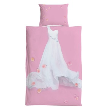 Cotton Material Pink Princess Style White Dress Pattern 3 Pieces Girl Bedding Sets/Duvet Covers