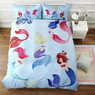 Creative Cartoon Mermaid Pattern Cotton Material White 4-Pieces Girl Bedding Sets/Duvet Cover