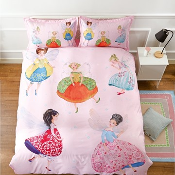 Cotton Material Unique Design Fairy Pattern Princess Style 4-Pieces Girl Bedding Sets/Duvet Cover