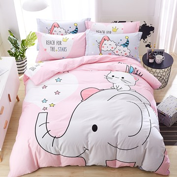 Cute PinK Elephant Pattern Cotton 4-Piece Kids Duvet Covers/Bedding Sets