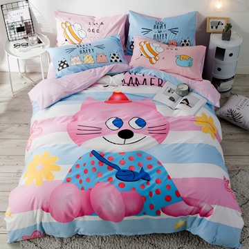 Cute Pink Cat Pattern Cotton 4-Piece Kids Duvet Covers/Bedding Sets