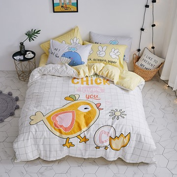 Cute Cartoon Chick Pattern Cotton 4-Piece Kids Duvet Covers/Bedding Sets