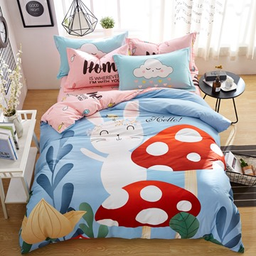 Cartoon Rabbit And Mushroom Pattern Cotton 4-Piece Kids Duvet Covers/Bedding Sets