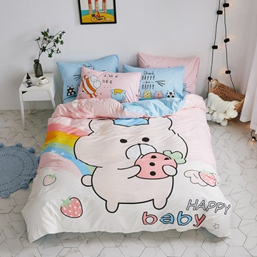 Pink Cartoon Pig Pattern Cotton 4-Piece Kids Duvet Covers/Bedding Sets