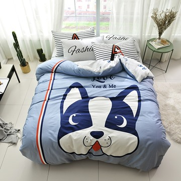 Cute Cartoon Dog Pattern Cotton 4-Piece Kids Duvet Covers/Bedding Sets