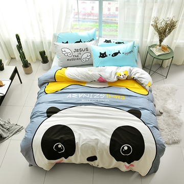 Funny Cartoon Panda Pattern Cotton 4-Piece Kids Duvet Covers/Bedding Sets