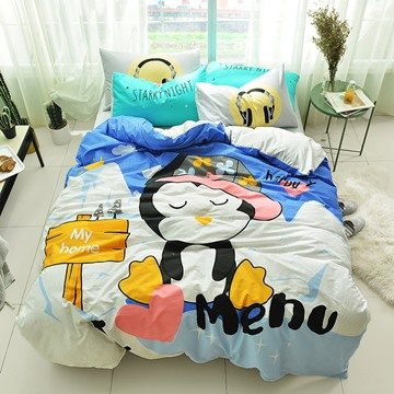 Cute Cartoon Penguin Pattern Cotton 4-Piece Kids Duvet Covers/Bedding Sets