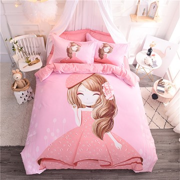 Pink Princess Pattern Cotton 4-Piece Kids Duvet Covers/Bedding Sets