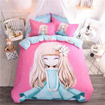 Pink Cute Cartoon Little Girl Pattern Cotton 4-Piece Kids Duvet Covers/Bedding Sets