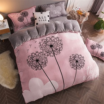 Pink Dandelion Reversible Flannel Warm Kids 4-Piece Fluffy Bedding Sets/Duvet Cover