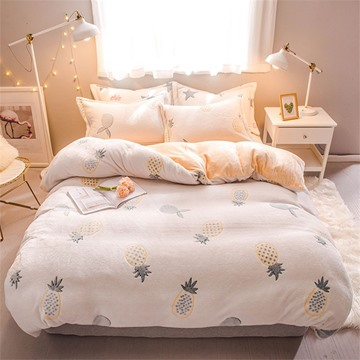 Yellow Pineapple Reversible Flannel Warm Kids 4-Piece Fluffy Bedding Sets/Duvet Cover