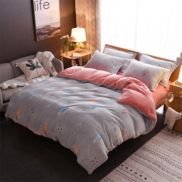 Grey Tree Reversible Flannel Warm Kids 4-Piece Fluffy Bedding Sets/Duvet Cover