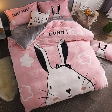 Pink Rabbit Reversible Flannel Warm Kids 4-Piece Fluffy Bedding Sets/Duvet Cover