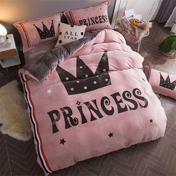 Princess Crown Reversible Flannel Warm Kids 4-Piece Fluffy Bedding Sets/Duvet Cover