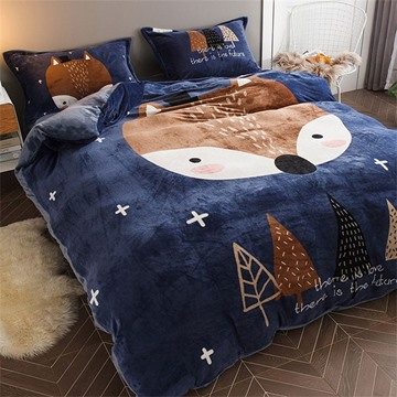 Blue Fox Reversible Flannel Warm Kids 4-Piece Fluffy Bedding Sets/Duvet Cover