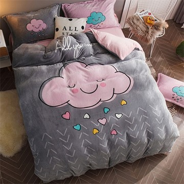 Grey Cloud Reversible Flannel Warm Kids 4-Piece Fluffy Bedding Sets/Duvet Cover