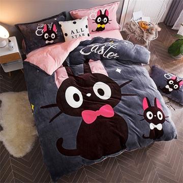 Black Cat Reversible Flannel Warm Kids 4-Piece Fluffy Bedding Sets/Duvet Cover