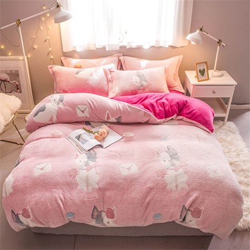 Pink Dog Reversible Flannel Warm Kids 4-Piece Fluffy Bedding Sets/Duvet Cover