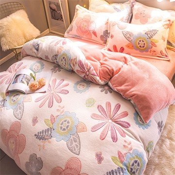 Colorful Flower Reversible Flannel Warm Kids 4-Piece Fluffy Bedding Sets/Duvet Cover