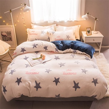 White Reversible Flannel Warm Star Kids 4-Piece Fluffy Bedding Sets/Duvet Cover
