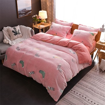 Pink Reversible Flannel Warm Christmas Sock Kids 4-Piece Fluffy Bedding Sets/Duvet Cover