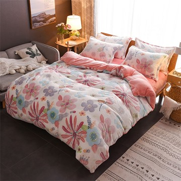 Pink Flower Reversible Flannel Warm Kids 4-Piece Fluffy Bedding Sets/Duvet Cover